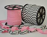 Косая бейка из хлопка для окантовки с белым горошком 2 мм на тёмно розовом фоне, фото 3