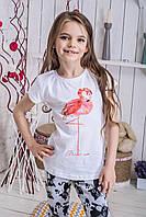 Футболка детская для девочки белая Фламинго
