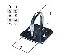 Скоба h-25 мм на квадратном основании для тента, полуприцепа, фуры тентовая фурнитура