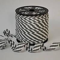 Косая бейка из хлопка  для окантовки с полоской 5мм темно-серого цвета