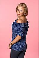 Элегантная блуза на лето темно -синего  цвета