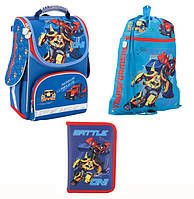 Набор первоклассника для мальчика Ранец, сумка для обуви, пенал Kite Transformers 500