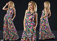 Платье-сарафан макси  из штапеля 4 цвета