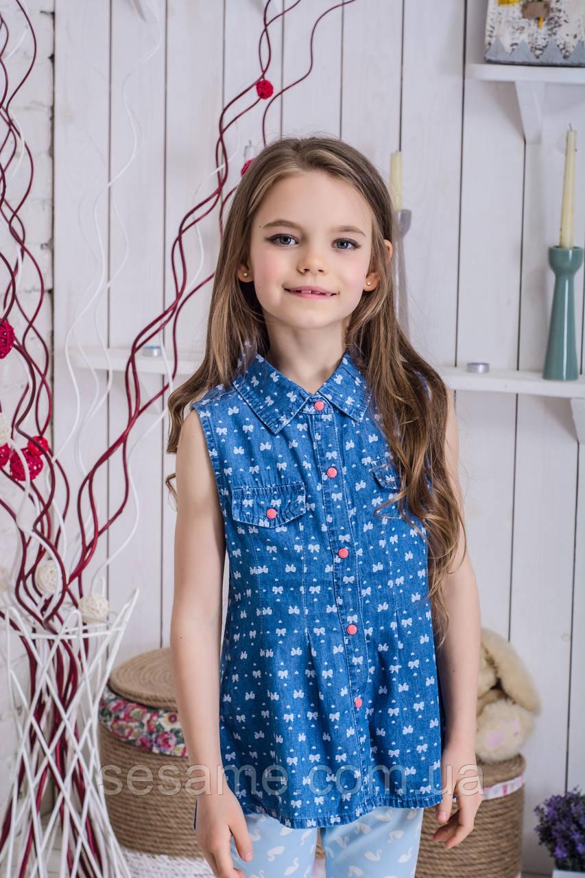 Джинсовая блузка для девочки бантики