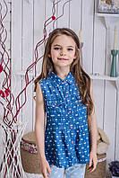 Джинсовая блузка для девочки бантики, фото 1