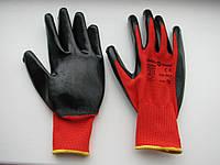 Перчатки прорезиненные стрейч черный-красный