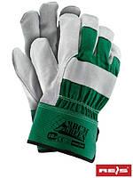 Защитные перчатки усиленные высококачественной яловой кожей (перчатки кожаные рабочие REIS) RBCMGREEN ZJS