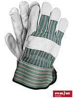 Защитные перчатки усиленные яловой кожей (перчатки кожаные рабочие REIS Польша) RBCMPAS MCJS