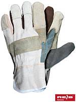 Защитные перчатки усиленные разноцветной яловой кожей (перчатки кожаные рабочие) RBK MC