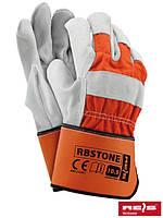 Перчатки защитные, усиленные яловой кожей (перчатки кожаные рабочие REIS Польша) RBSTONE PJS