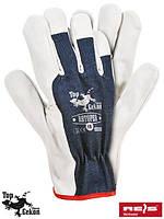 Защитные рукавицы изготовленные из высококачественной воловьей кожи (перчатки кожаные рабочие) RBTOPER GW