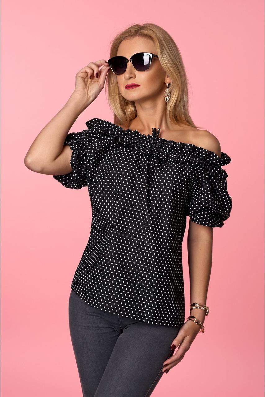 Элегантная блуза на лето черного  цвета