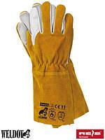 Перчатка кожаные рабочие сварщика REIS (RAW-POL) Польша (краги) YELLOWBEE WY
