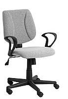 Кресло компьютерное на колесиках серое , офисное черное с ручками