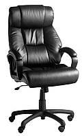 Кресло офисное кожаное на колесиках черное (кресло руководителя)