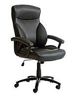 Кресло офисное на колесиках кожаное с боковыми потдержками черное с ручками
