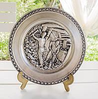 Настенная оловянная тарелка, олово, Германия, шахтерская тематика