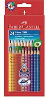 Цветные карандаши Faber-Castell акварельные 24 цвета GRIP 2001 трехгранные  в картонной коробке 112424