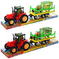 Инерционные машинки для детей Спецтехника Трактор с прицепом (289-39) инерционная, 42см, с прицепом, животные,
