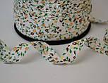 Косая бейка из хлопка с коричневыми и кофейными цветочками на белом фоне, ширина 18 мм., фото 2