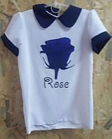 Нарядная детская блузка с цветочным принтом р. 128-152