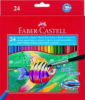 Цветные карандаши Faber-Castell акварельные 24 цвета в картонной коробке 114425