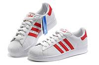 Adidas Superstar White-Red. Стильные кроссовки. Интернет магазин кроссовок. Спортивная обувь