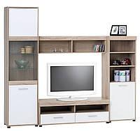 Большая стенка мебельная сподставкой под ТВ, цвет белый дуб