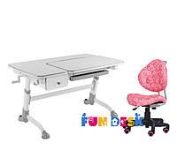 Растущая парта-трансформер FunDesk Amare Grey с выдвижным  ящиком + Детское кресло SST5