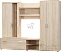 Стенка в гостинную со шкафом, ящиками и подставкой под ТВ, ясень светлый.