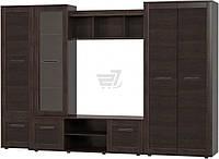 Стенка мебельная с подставкой под ТВ,шкафом и полками  венге