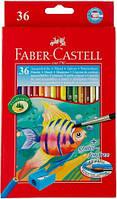 Цветные карандаши Faber-Castell акварельные 36 цветов в картонной коробке 114437