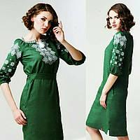 Оригінальна зелена лляна сукня з вишивкою  , фото 1