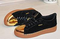 Черные криперы, туфли, кеды с золотым носочком 36,40,41