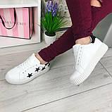 Белые кроссовки, кеды в черные звёзды, женские мокасины, фото 7