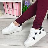 Белые кроссовки, кеды в черные звёзды, женские мокасины, фото 6