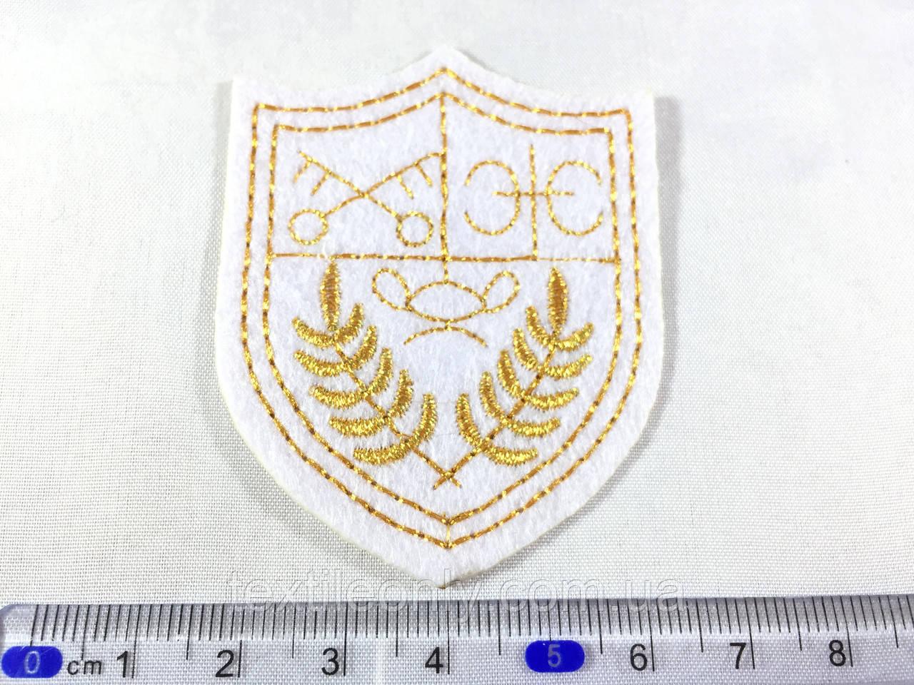 Нашивка герб колір білий 49х62 мм