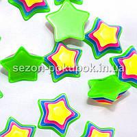 Звёзды 3D - Серединки, кабошоны -  d=1,4см Цена за 10 шт. Цвет - зеленый (с жёлтой серединкой)