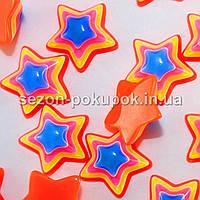 Звёзды 3D - Серединки, кабошоны -  d=1,4см Цена за 10 шт. Цвет - оранжевый (с синей серединкой)