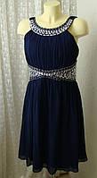 Платье вечернее синее миди Quiz р.52 7577а