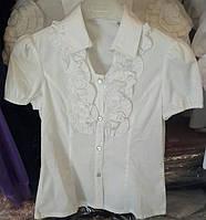 Подростковая  белая блуза с жабо длинный рукав Many&Many р. 134-164
