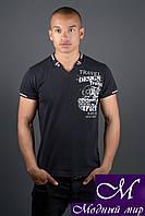 Красивая мужская черная футболка (р. 44-58) арт. 1109
