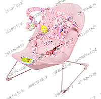 Шезлонг детский 30602, мягкая дуга с 3 подвесками, музыка, вибрация, розовый, на батарейках, в коробке
