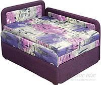 Детская кровать диван с бортиком выдвижная с нишей для белья фиолетовая левая