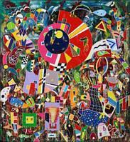 "Картина. ""Ночь на Ивана Купала"". Пластик. Масло, декорфин, акрил. 508х466."