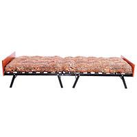 Раскладушка кровать с матрасом и ламелями из дерева