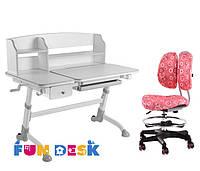 Детская парта для дома FunDesk Amare Grey II с выдвижным ящиком  + Детское кресло SST6