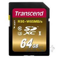 Карта памяти Transcend 64GB SDXC Class 10 Ultimate UHS-I U3 R95/W85MB/s (TS64GSDU3X)