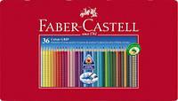 Цветные карандаши Faber-Castell акварельные 36 цвета GRIP 2001 трехгранные  в металлической коробке 112435