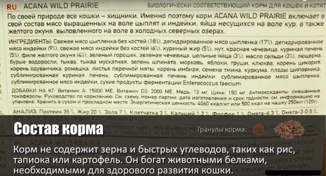 Состав Корма Акана